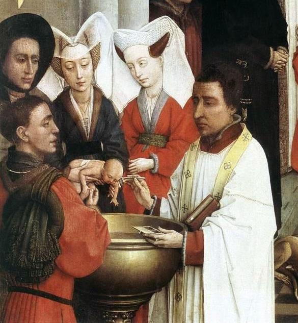 Rogier_van_der_Weyden-_Seven_Sacraments_Altarpiece_-_Baptism_detail,_left_wing